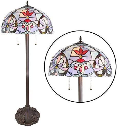BONLICHT Tiffany Floor Lamp Antique Tiffany Style Victorian 2-Light Standing Light Fixtures Hanging 18-Inch Art Glass Shade,Vintage Stained Glass Living Room Bedroom Office Lighting UL Listed
