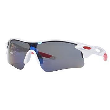 elegantstunning Gafas de Sol para Hombre y Mujer, con Espejo retrovisor, Estilo Vintage, Gafas de Ciclismo Deportivas, White Box Blue Film: Amazon.es: ...