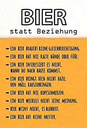 Schatzmix Bier Statt Beziehung Lustige Spruch Schild Metal Sign Deko