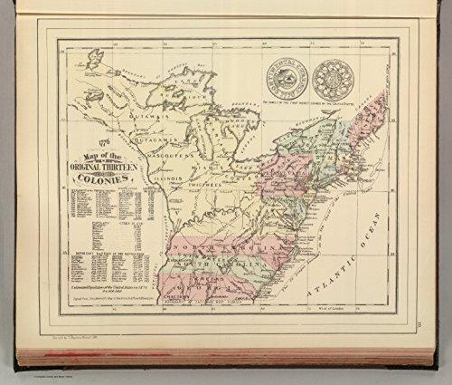 "Map Poster - Original Thirteen Colonies. - 24""x20.5"""