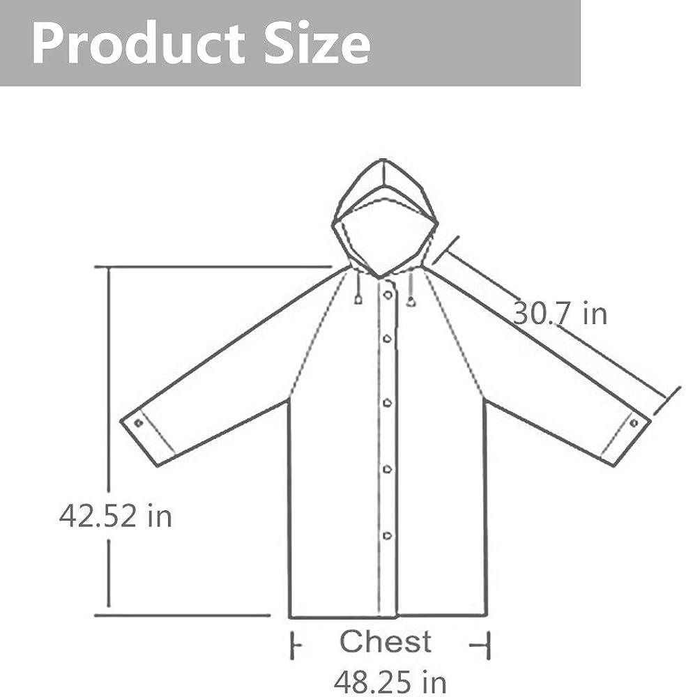 EnergeticSky EVA Portable Raincoat for Adults,Reusable Rain Poncho with Hoods and Sleeves