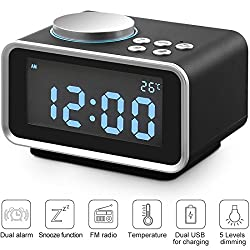 DPNAO Digital Alarm Clock Radio, Small with 3.2 Backlit LCD Display/Snooze/Dimmer/Battery Backup/Temperature/Dual USB Charging for bedrooms kids