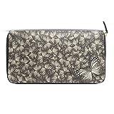 Womens Wallets Zip Around White Tiger Butterflys Leather Clutch Purses Travel Passport Handbag