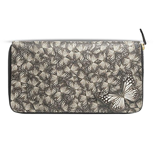 Womens Wallets Zip Around White Tiger Butterflys Leather Clutch Purses Travel Passport Handbag by HangWang