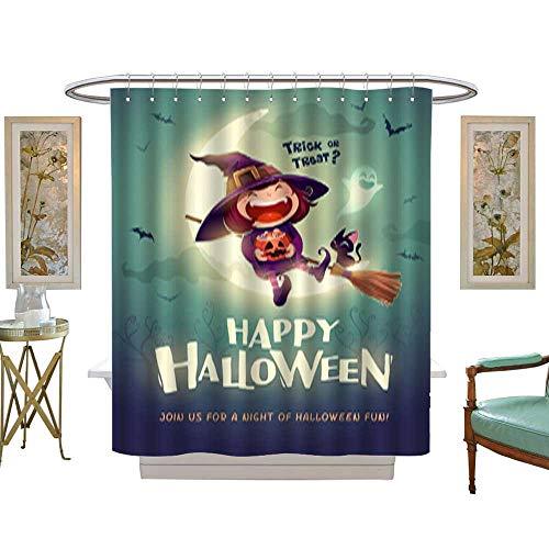 Iuvolux Bathroom Shower Happy Halloween Halloween Little Witch Girl Kid in Halloween Costume Sits on The Moon Retro Vintage 1. Mildew Water Repellent Shower Curtain W54 x H72 Inch
