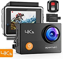 """APEMAN Action Camera 4K WiFi Ultra HD Waterproof Sports DV Camcorder 170징찾 Wide Angle/2"""" LCD/2.4G Wireless Remote Control/2 Rechargeable Batteries/20 Mounting Kits"""