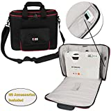 BUBM Projector Case, Travel Carrying Bag with Accessories Pockets and Shoulder Strap, Water-resistant, Well Protection, Fit for HITACHI, Epson, BenQ, Sharp and more. Medium