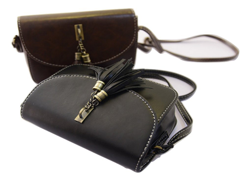 Brag Bag Small Black Leather Handbags For Women Mini Crossbody Purse Tassel Bag Womens Shoulder Bag by BragBag (Image #2)