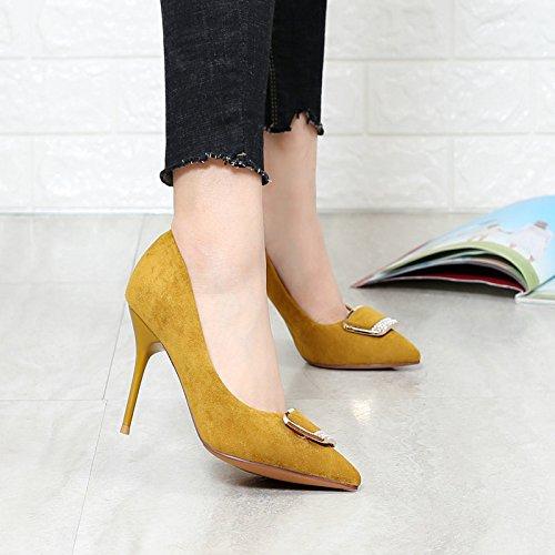 L'Automne Talons KHSKX Femmes À Une Nouvelles Amende Chaussures yellow Avec Pointues Correspond Petites Hauts Les xqIwrpTq8