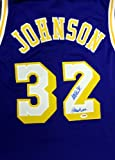 """Magic Johnson Autographed Los Angeles Lakers Purple Jersey """"Showtime"""" in Blue PSA/DNA"""