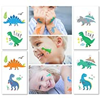 Hugo & Emmy Dinosaur Temporary Tattoos for Kids - 12 Sheets/ 24 Tattoos | Dinosaur Party Favors, Birthday Party Supplies, T-Rex Decorations