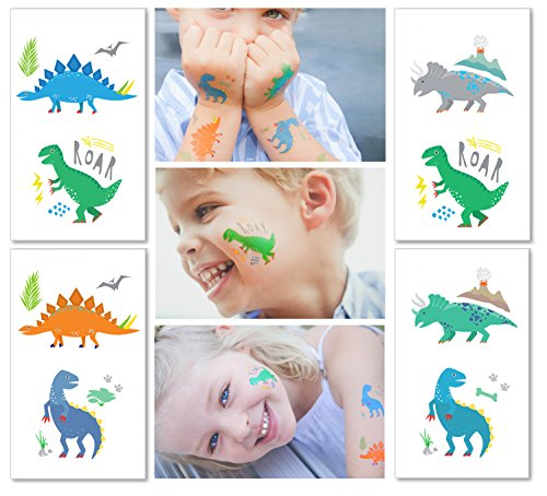 Hugo & Emmy Dinosaur Temporary Tattoos for Kids - Party Favors for Goodie Bags for Birthdays, Parties and Events - 12 Sheets (24 Tattoos) -