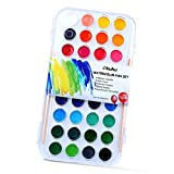 Image of Ohuhu Fundamentals Watercolor Set, 36 Assorted Water Color Pan Set W/ 2 Paintbrushes