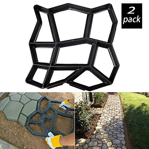 Walk Maker, Stone Molds Reusable Path Paving Pavement Concrete Moulds Stepping Stone Paver Lawn Patio Yard Garden DIY Walkway (Irregular 2 Pack) - Stone Moulds