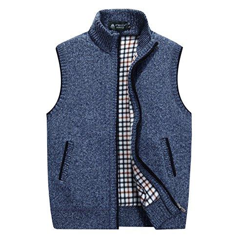 XinDao Men's Casual Stand Collar Zipper Sleeveless Knitted Lightweight Cardigan Sweater Fleece Wool Vest Office Outwear Jackets Blue US XL/Asia 3XL