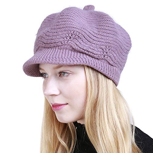 Women's Winter Hat Slouchy Cable Knit Visor Crochet Beanie Hats Warm Snow Ski Skull Cap with Brim Light Purple
