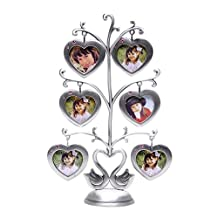QTMY Metal Family Tree Swan with 6 Hanging Picture Frames Collage Desk Ornaments