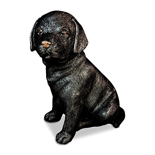 Statue Puppy Dog (Whole House Worlds The Animal Lovers Black Lab Puppy, Seated Dog, Garden Statue, Ultra-Realistic Figurine, 6 Inches Tall, Hand Cast and Painted, Polyresin)