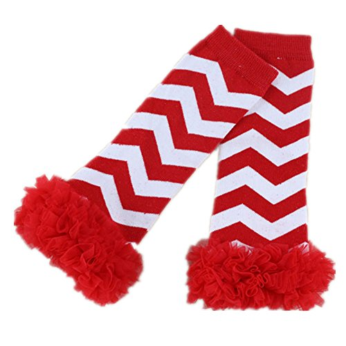 Dealzip Inc Red & White Stripes & Red Newest Baby Leg Warmers Boys Girls Legging Tights Cute Rainbow Socks Infant Toddler Ruffle Warmers Kids Leg warmers