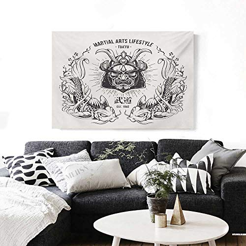 BlountDecor Asian Canvas Wall Art for Bedroom Home Decorations Traditional Japanese Samurai Mask Koi Fish Martial Arts Lifestyle Tokyo Typography Art Stickers 48