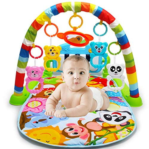 (WDDH Play Piano Gym,Kick and Play Newborn Toy with Piano for Baby 0- 18 Month,Play Piano Playmat with Piano,Mirror,Cartoon Animal Toys,Lights and Sounds)