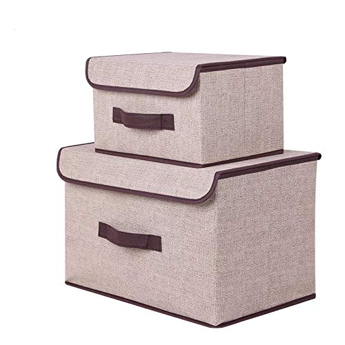 M&S Storage Bin with Lid Storage Bins with Lids Fabric Storage Boxes with Lids (2 Pack) Set of Two Foldable Storage Bns Collapsible Storage Cubes Baskets Bedroom Toys Clothes Office Kid Room Woven (Boxes Lids Storage Fancy With)