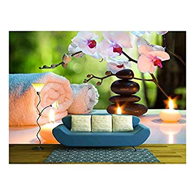 With Expert Quality, Wonderful Picture, Massage Composition Spa with Candles Orchids Stones in Garden