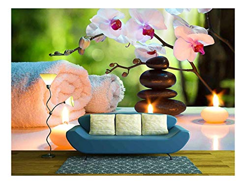 wall26 - Massage Composition Spa with Candles, Orchids, Stones in Garden - Removable Wall Mural | Self-Adhesive Large Wallpaper - 66x96 inches