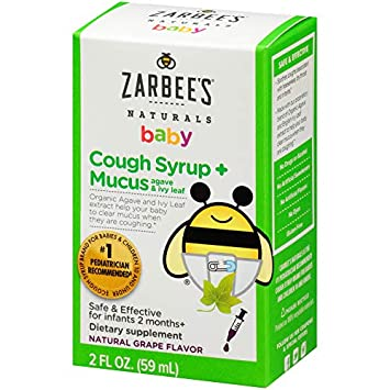 Zarbee's Naturals Baby Cough Syrup + Mucus, Natural Grape Flavor, 2 Fl   Ounces, safe and effective