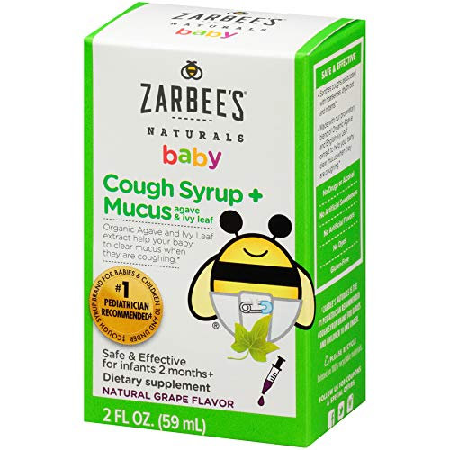 Zarbee's Naturals Baby Cough Syrup + Mucus, Natural Grape Flavor, 2 Fl. Ounces, safe and effective for infants 2 months+ Safe, effective, drug -