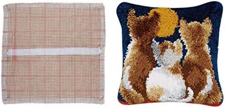 joyMerit ラッチフックキット 猫 枕カバー DIY 手芸キット 刺繍キット 手作業 かぎ針編みキット 初心者 大人