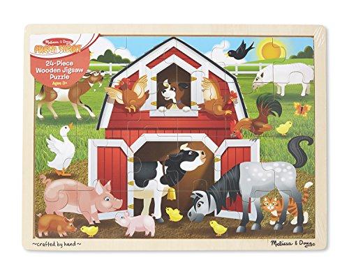 - Melissa & Doug Barnyard Wooden Jigsaw Puzzle (24 pcs)