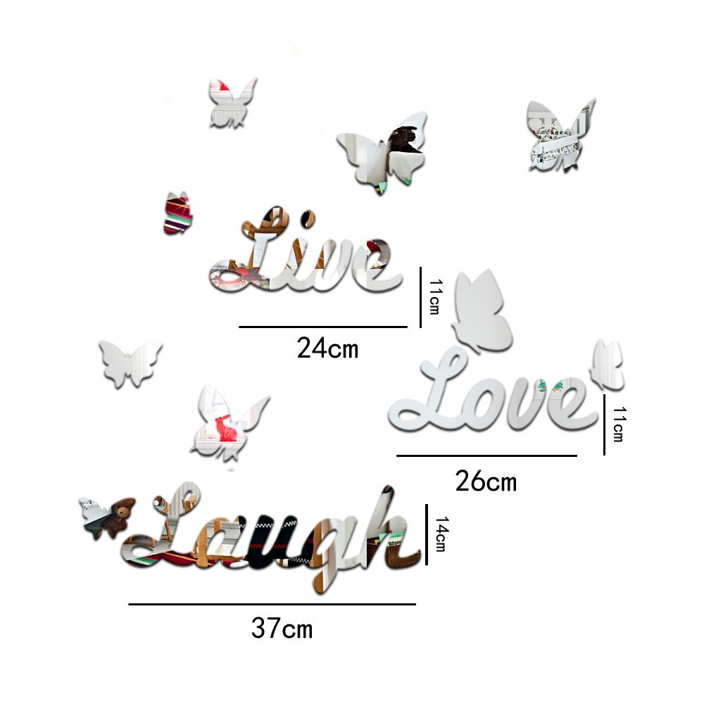 PSFY Home Live Love Laugh Mirror Stlye Removable Decal Vinyl Diy Art Wall Sticker Decor (Silver)