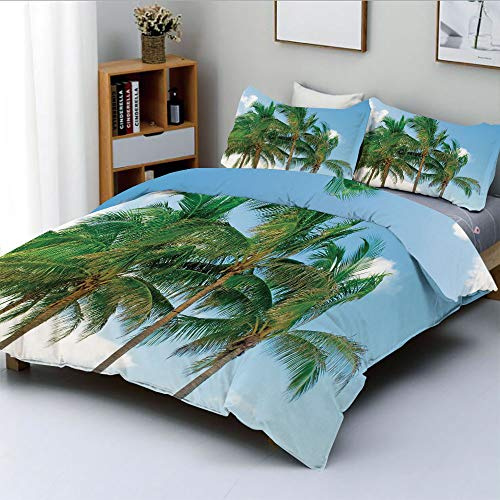 Duplex Print Duvet Cover Set King Size,Palm Tree Tops in Sunny Sky Relaxing Exotic Idyllic Nature Serene Scenery ImageDecorative 3 Piece Bedding Set with 2 Pillow Sham,Green,Best Gift For Kids & Adult