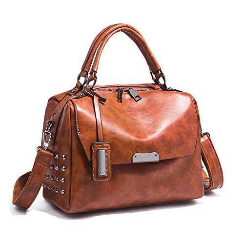 Simple SHINING KIDS À Sauvage Féminine Souple Rivet Main Brown Cuir À Bandoulière Sac Diagonale Mode En Sac S1wCTqS