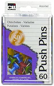 Charles Leonard Pins - Push - Reusable Box - Assorted Colors - 60/Box, 79060