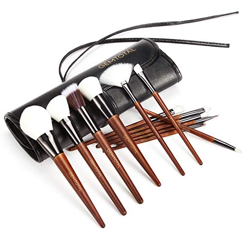Gemtotal 12-Pieces Professional Premium Blending Kabuki Makeup Brushes Set for Women with Organizer Bag,Natural Wood ()