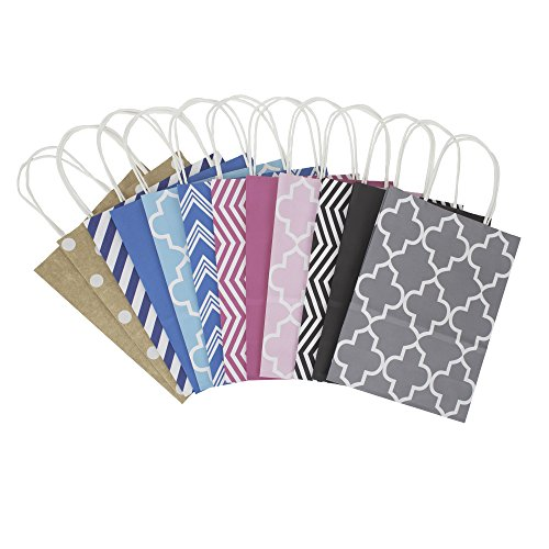 Hallmark 10' Medium Gift Bag Assortment, Pack of 12 in Kraft, Grey, Black, Pink, Blue - Solids and Patterns for Birthdays, Baby Showers, Bridal Showers or Any Occasion