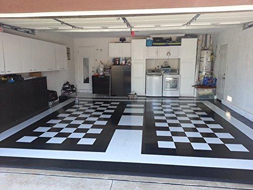 Garage Floor Tile Black White Peel Stick 120 Square Feet 12