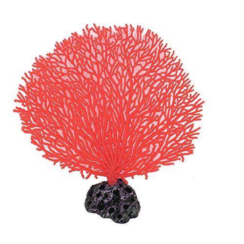 uxcell Plastic Aquarium Fish Tank Fan Shape Coral Plant Water Landscape 17cm Height Red