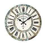 Fantastic Job 14 Inch Vintage France Paris Style Wooden Silent Wall Clock Roman Numerals