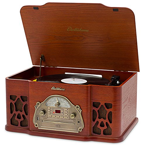 Electrohome Wellington Record Player Retro Vinyl Turntable Real Wood Stereo System, AM/FM Radio, CD, USB for MP3, Vinyl-to-MP3 Recording, Headphone Jack, AUX Input for Smartphones (EANOS502)