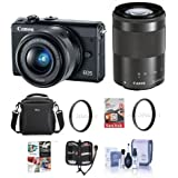 Canon EOS M100 Mirrorless Camera EF-M 15-45mm f/3.5-6.3 IS STM EF-M 55-200mm f/4.5-6.3 IS STM Lenses, Black - Bundle Camera Bag, 16GB SDHC Card, 49/52mm UV Filter, Software Pack More