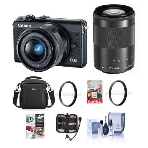 Canon EOS M100 Mirrorless Camera with EF-M 15-45mm f/3.5-6.3 IS STM and EF-M 55-200mm f/4.5-6.3 IS STM Lenses, Black – Bundle with Camera Bag, 16GB SDHC Card, 49/52mm UV Filter, Software Pack and More