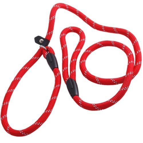 Agility Dog Collar (Coolrunner Pet Dog Slip Training Leash Lead Collar (Red) for Dogs 10-80lbs 4foot/1.2m Long)