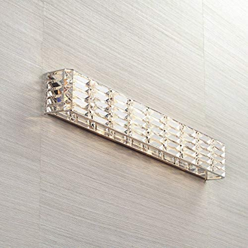 Vivienne Modern Wall Light Chrome Cut Crystal 35 Vanity Fixture Bathroom Over Mirror Bedroom – Possini Euro Design