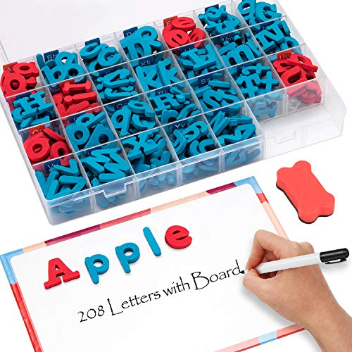 Gamenote Classroom Magnetic Letters kit with Double-Side Magnet Board - Foam Alphabet Letters for Kids Spelling and Learning(208pcs in Box) ()