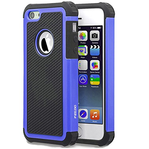 Case iPhone 5, [Football face] Shockproof Durable Hybrid Dual Layer Armor Defender Full Body Protective Hard Plastic with Soft Silicone Case Cover for Apple iPhone 5 5S SE (Black Blue) ()