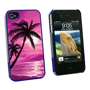 Graphics and More Palm Trees And Sunset Pink - Beach Tropical Ocean - Snap On Hard Protective Case for Apple iPhone 5 5s - Blue - Carrying Case - Non-Retail Packaging - Blue