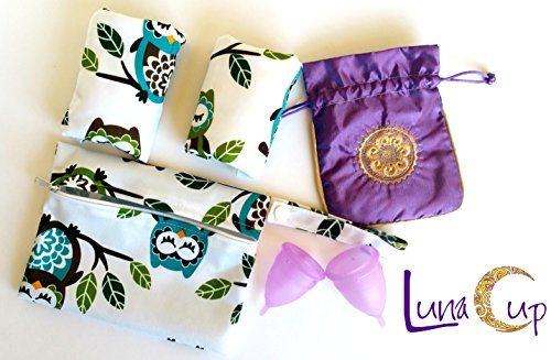 Luna Cup Period Starter Kit 6pcs Set- 1 Small 1 Large Menstrual Cup 1 small Pouch 2 Cloth Pads for Women 1 Wet (De Lune Cup)
